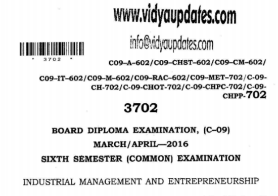 SBTET AP C09 COMMON INDUSTRIAL MANAGEMENT AND ENTREPRENEURSHIP PREVIOUS QUESTION PAPER