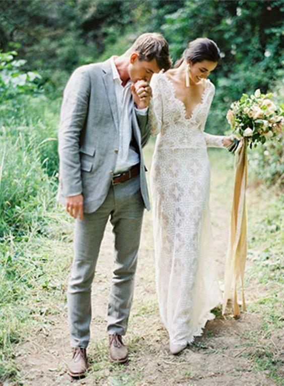 Mermaid Lace Wedding Dress, Boho Wedding Dress, Long Wedding Gown Bridal Dress