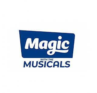 Magic with the musicals written in blue