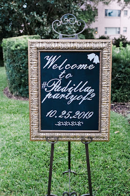 Large chalkboard welcome sign for wedding