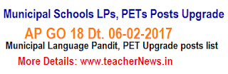 Municipal Schools Language Pandits,  PETs Posts Upgrade as per GO 18
