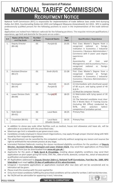 National Tariff Commission NTC Pakistan Govt Jobs 2020