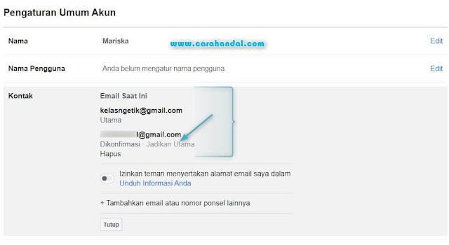 Cara Mengganti Alamat Email Facebook