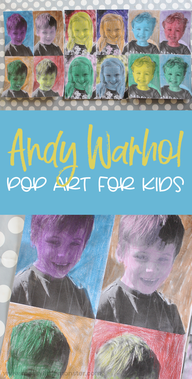 Andy Warhol pop art for kids. Famous artist art project.