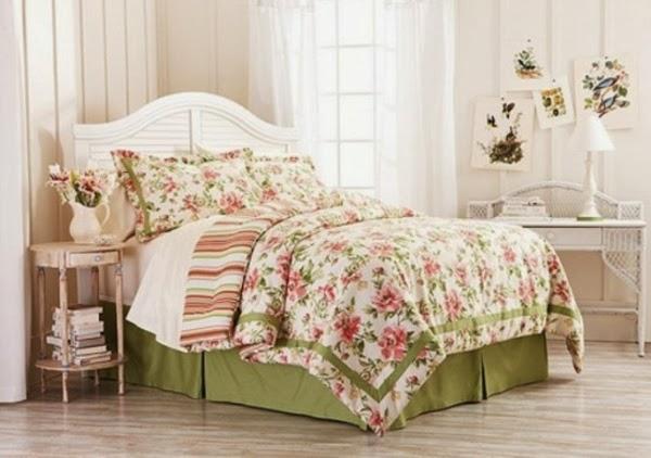 habitación rosa blanco verde