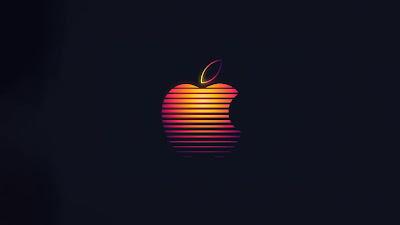 Apple Logo Retrowave para Papel de Parede de Celular PC