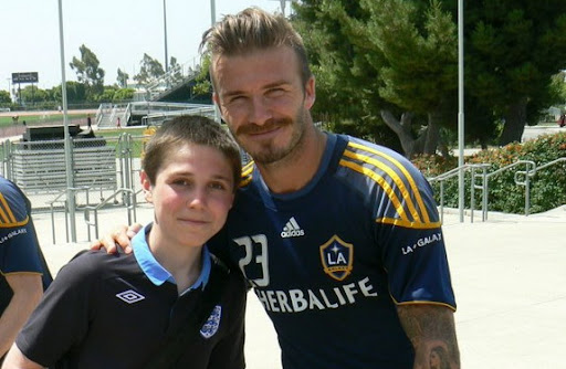 You Lucky Boy: Will Kitching poses with David Beckham