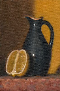 Still life oil painting of a lemon half beside a blue porcelain sauce jug.