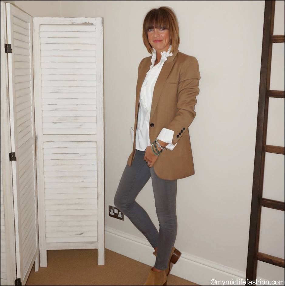 my midlife fashion, marks and Spencer single breasted blazer, Isabel Marant Etoile frill blouse, j crew toothpick skinny jeans, Zara western heel ankle boots, the sea tree company mindful stacking bracelets