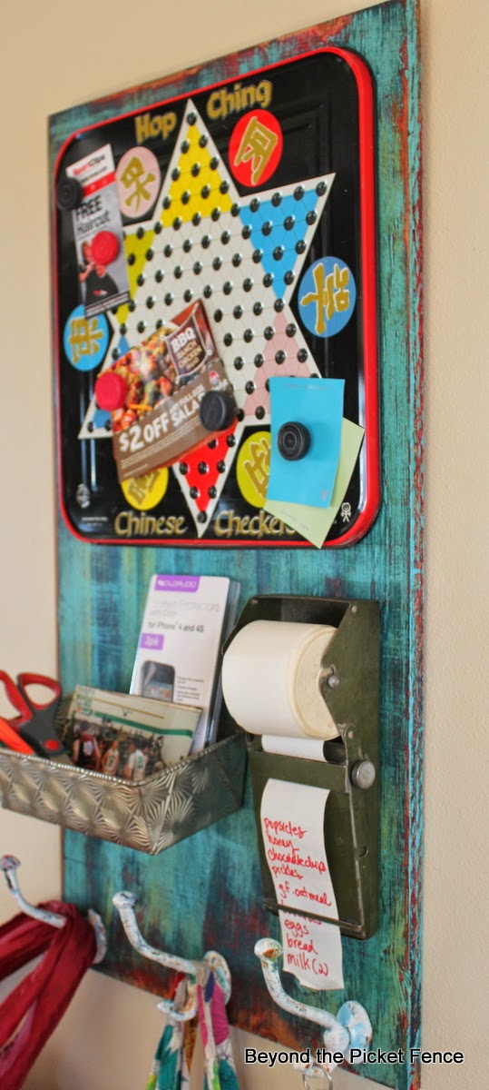 repurposed junk, message board, vintage game board, http://bec4-beyondthepicketfence.blogspot.com/2016/03/repurposing-little-junk.html