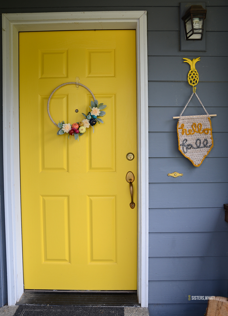 yellow door modern pumpkin wreath