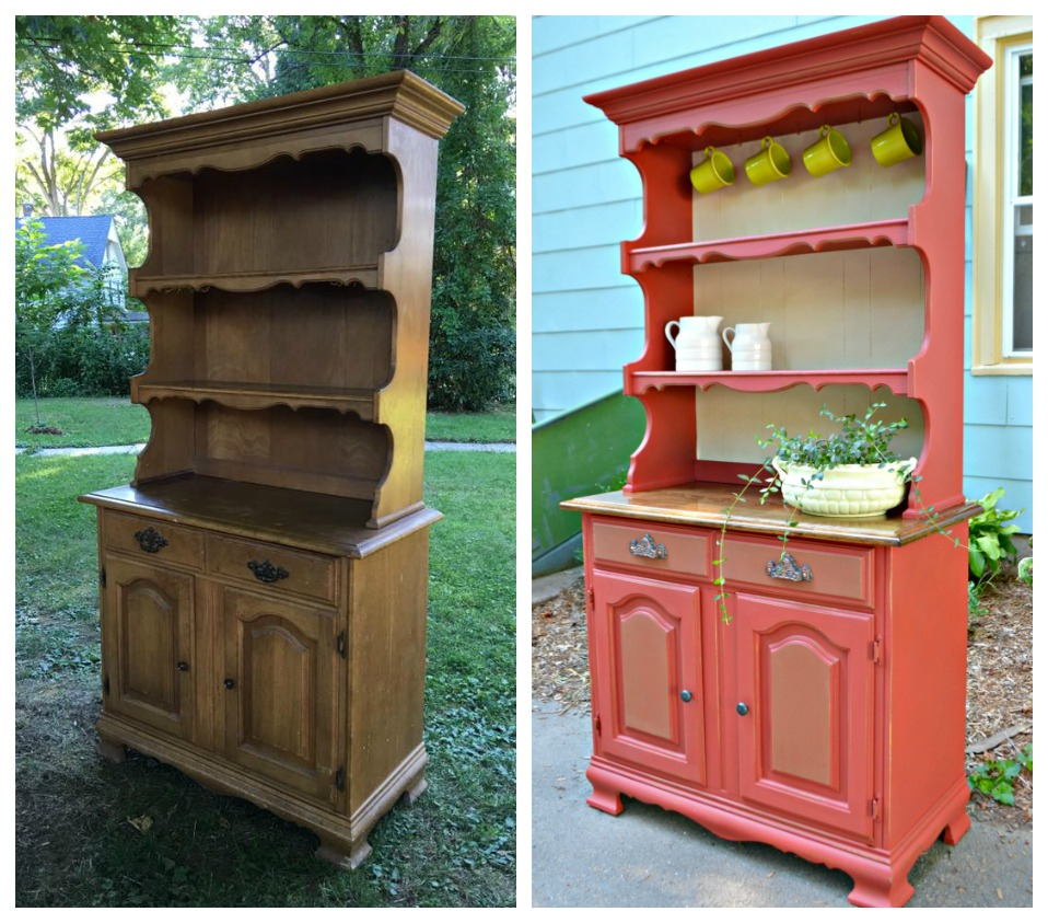 Heir and Space: A Vintage Maple Hutch in Red