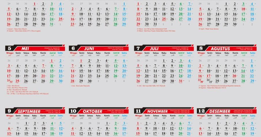 Baru Kalender 2020 Siap Download Dan Edit Coreldraw Dan Word