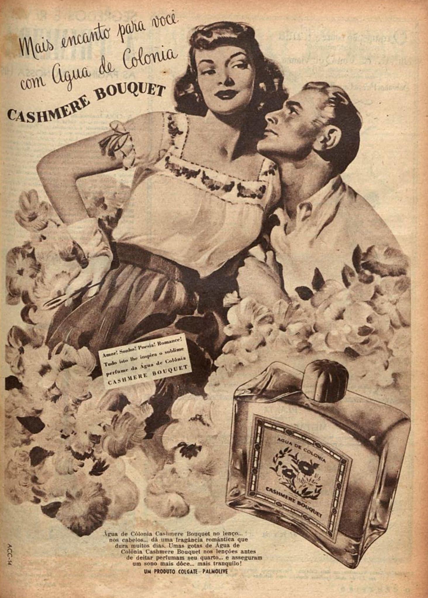 Anúncio de 1948 promovia os benefícios da água de colônia Cashmere Bouquet