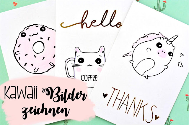 Postkarten mit Kawaii Donut und Kawaii Einhorn