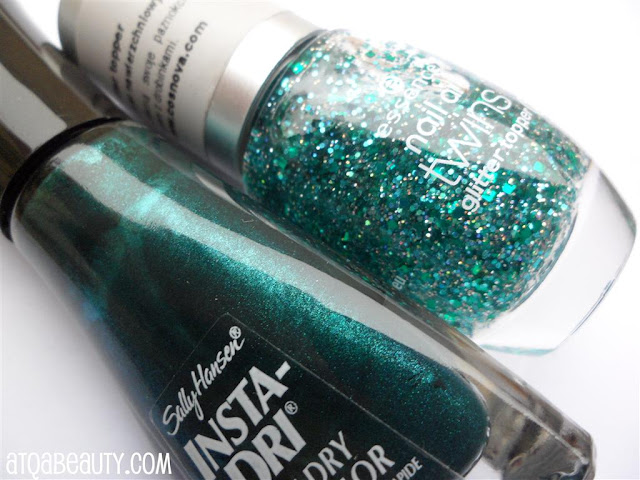 Sally Hansen, Insta-Dri, 22 Jumpin' Jade + Essence, Nail Art Twins, Glitter Topper, 06 Edward