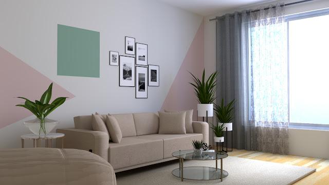 Desain interior ruang tamu bertema Graphical Pop