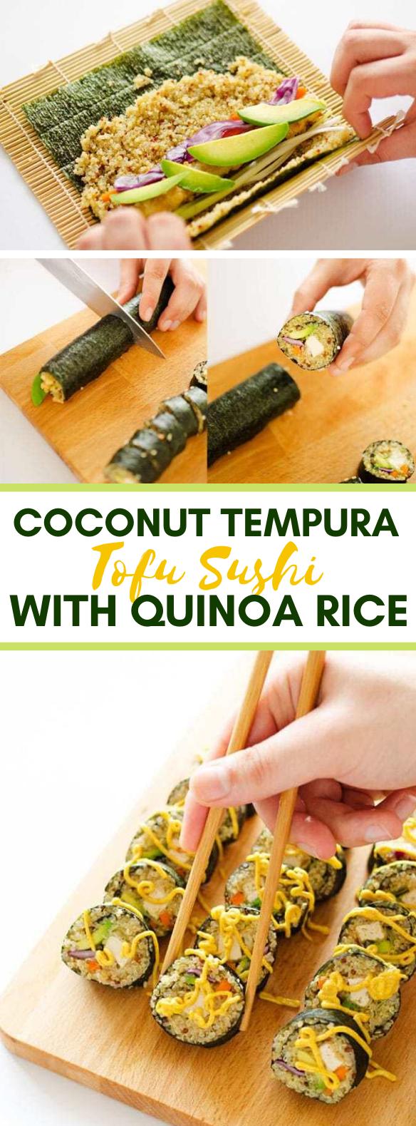 COCONUT TEMPURA TOFU SUSHI WITH QUINOA RICE #vegetarian #healthydinner