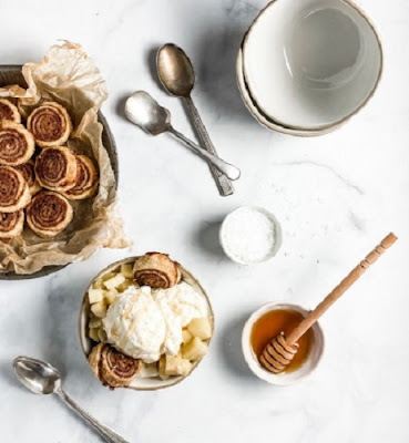 Salted Honey Ice Cream + Apple Topping by Sheri Silver