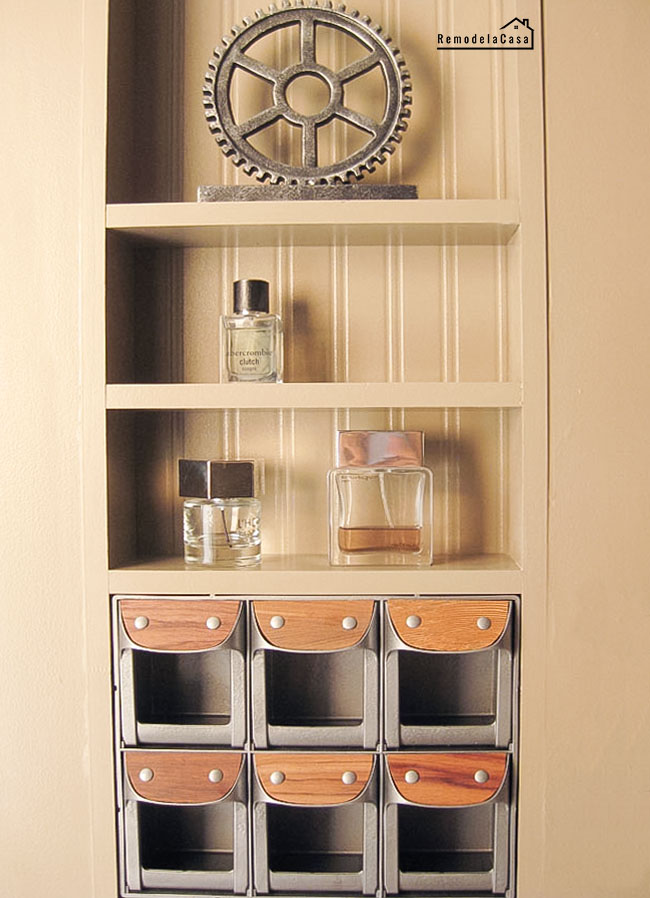 how to add storage in between the studs on the wall