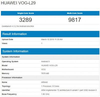 Huawei P30 Pro Geekbench score