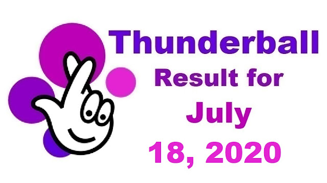Thunderball Results for Saturday, July 18, 2020