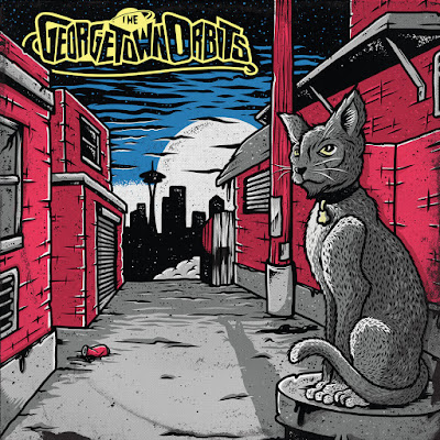 The cover illustration features a cat sitting in an alleyway in the foreground, with Seattle's skyline--including the Spaceneedle--in the distance.