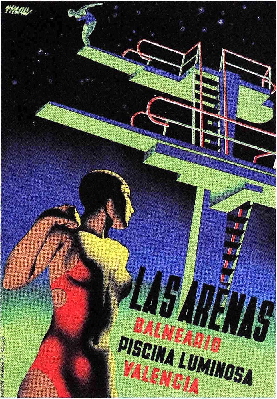 a 1930s poster for Las Arenas Balneario Piscina Luminosa Valencia, high diving
