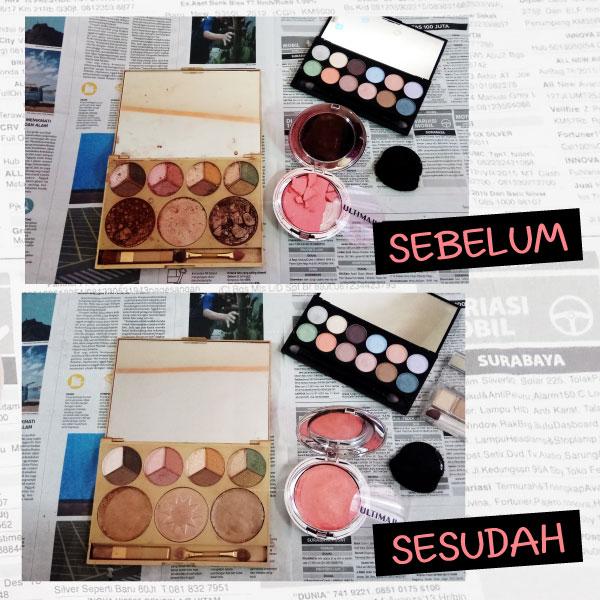Sebelum dan Sesudah Perbaiki Cosmetics Pallete Pecah