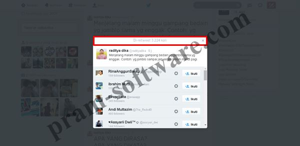 Screenshot Jumlah Retweet di Twitter