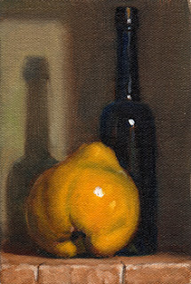 Oil painting of a quince beside an antique blue castor oil bottle.