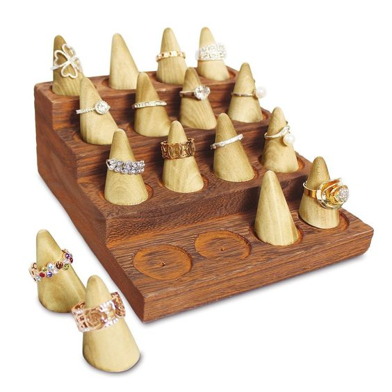 4-Step Wooden Ring Organizer Cone Shape Ring Display