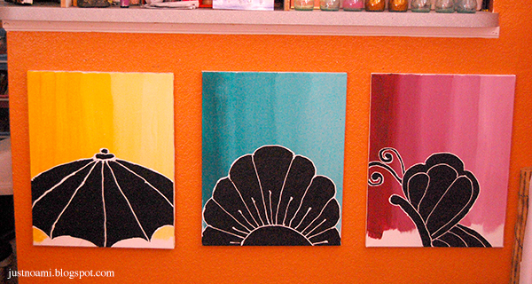 Noami Foster's Spring 2015 Paintings of an umbrella, flower, butterfly