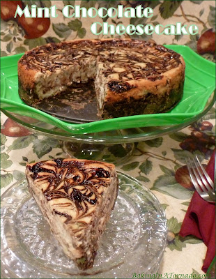 Mint Chocolate Cheesecake features a favorite flavor pairing in a delicious creamy cheesecake baked in a crunchy mint chocolate cookie crust. | Recipe developed by www.BakingInATornado.com | #recipe #dessert