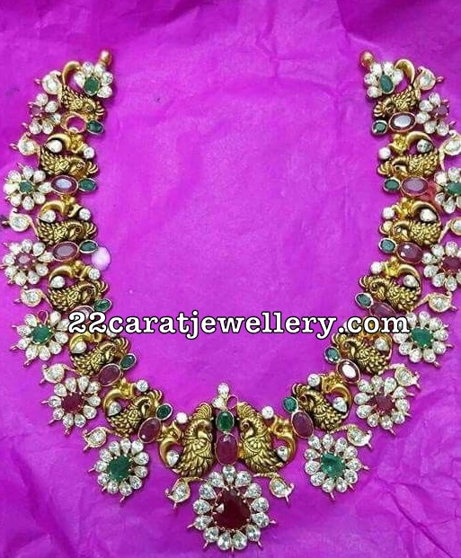Peacock Floral Ruby Necklace