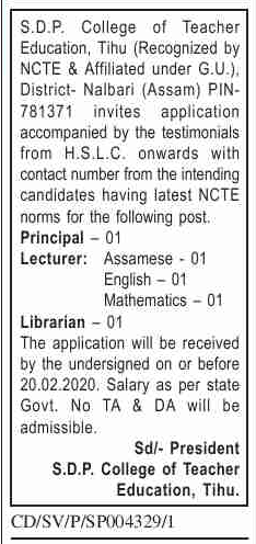 College of Teacher Education Tihu Recruitment 2020