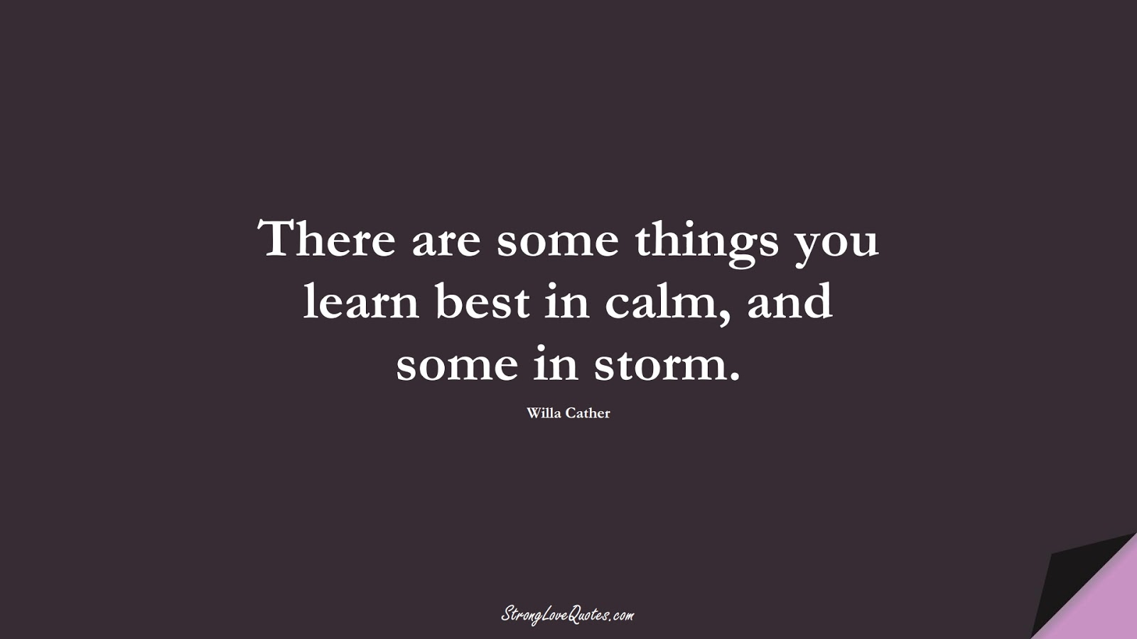 There are some things you learn best in calm, and some in storm. (Willa Cather);  #LearningQuotes