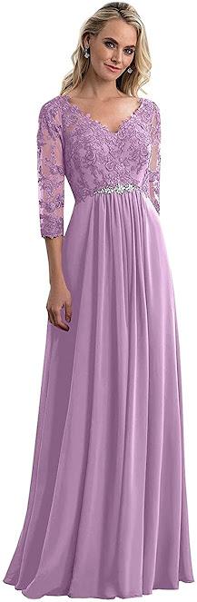 Floor Length Purple Mother of The Groom Dresses