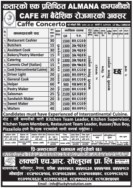 Jobs in Qatar for Nepali, Salary Rs 57,173