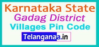 Gadag District Pin Codes in Karnataka State