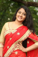 Akshara in Red Saree Golden Choli at LV Movie Makers Production No 1 Movie Opening ~  Exclusive 042.JPG