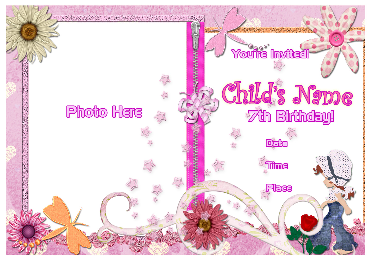 Pinktinyshop Photo Invites For 7th Birthday Girl