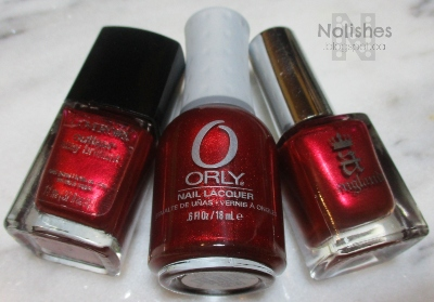 Cover Girl 'Forever Festive', Orly 'Torrid', and A England 'Perceval'