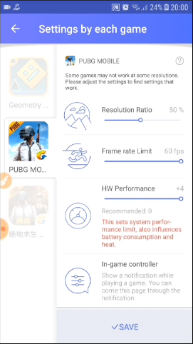 game tuner settings