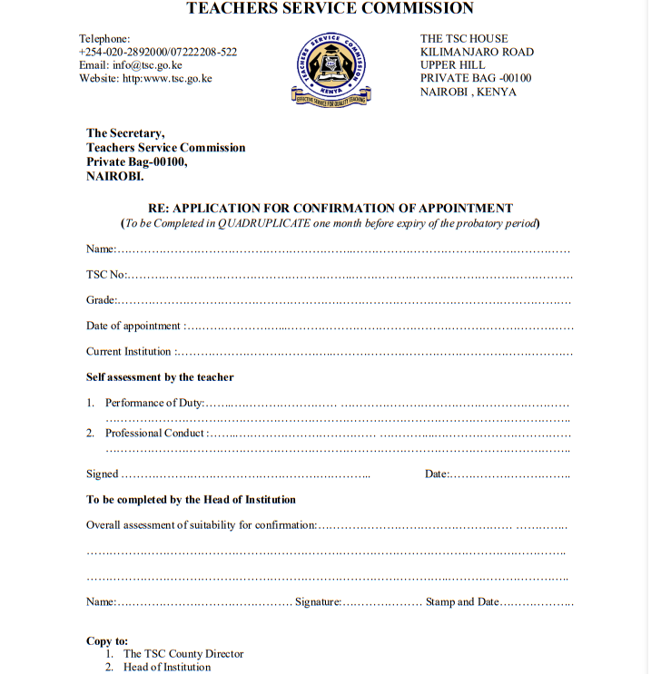 TSC Appointment Letters for New Teachers