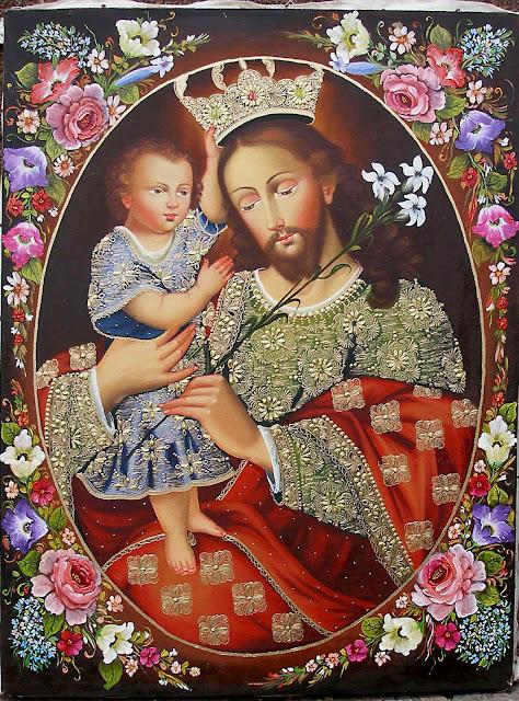 O Menino Jesus coroa a São José, anônimo da escola de Cusco, Peru