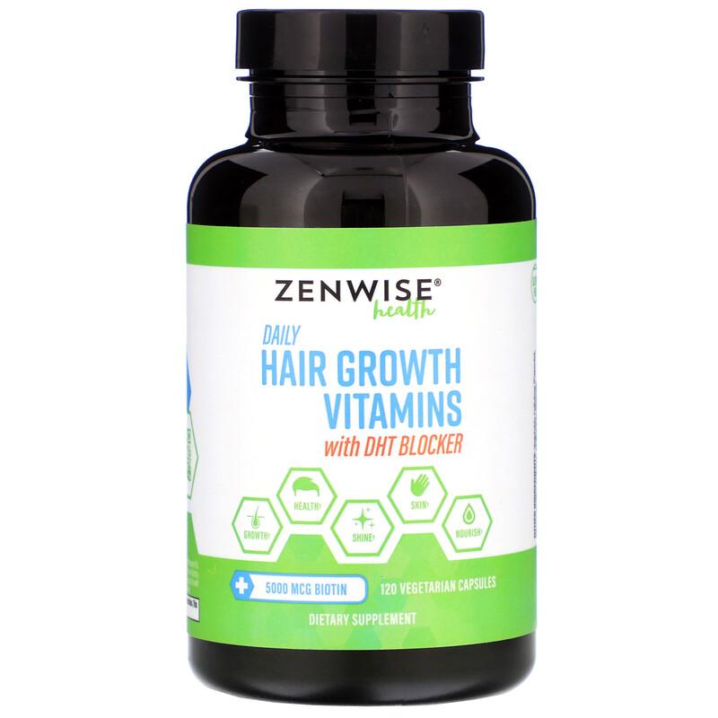 Zenwise Health, Ежедневные витамины для роста волос с блокатором ДГТ, 120 вегетарианских капсул