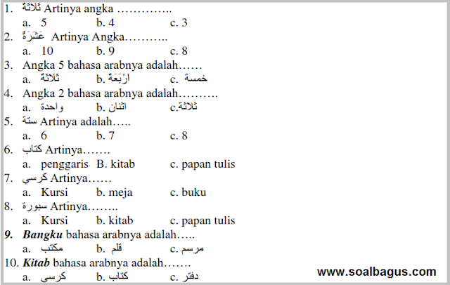 Download Soal PTS MI Kelas 1 B. Arab Kurikulum 2013. Kurtilas. Kunci Jawaban. semester 1. th. 2019 - 2020