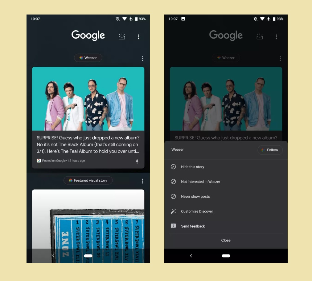 Google Discover showing 'Posts on Google' from brands and artists