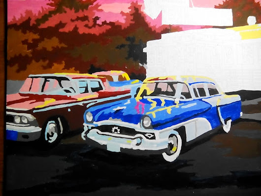 The Daily Paint By Number: 50's Cars at the 50's Diner